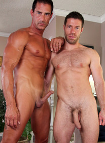 Alex Cox and Tristan Jaxx:Boyfriend, Friend, Couch, Floor, Living Room, Athletic, Cum on chest, Cum on stomach, Facial hair, Kissing, Lean, Masturbating, Muscular, Short hair, Tattoos, Tight ass