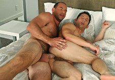 Ari Sylvio and Girth Brooks:Family friend, Friend, Married Man, Straight Guy, Bed, Bedroom, Ball licking, Big dick, Cum on stomach, Deep-throating, Dirty talk, Facial hair, Hairy chest, Lean, Muscular, Short hair, Tattoos