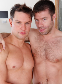Brad Benton and Tristan Jaxx:Co-worker, Friend, Married Man, Couch, Living Room, Cum on chest, Cum on stomach, Facial hair, Hairy chest, Kissing, Natural bush, Short hair, Suits And Ties, Tight ass