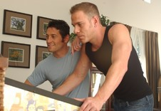 Ari Sylvio and Drew Cutler:Family friend, Friend, Couch, Living Room, Athletic, Ball licking, Big dick, Blonde, Deep-throating, Dirty talk, Hairy chest, Kissing, Lean, Rimming, Short hair