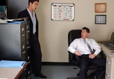 Ari Sylvio and Mike Martinez:Boss, Co-worker, Employee, Chair, Desk, Office, Ball licking, Big dick, Bubble butt, Cum on stomach, Deep-throating, Dirty talk, Hairy chest, Kissing, Latino, Lean, Rimming, Short hair, Suits And Ties, Tattoos, Uncut