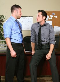 Tristan Jaxx and Tristan Phoenix:Co-worker, Friend, Desk, Office, Athletic, Big dick, Cum on chest, Cum on stomach, Hairy chest, Kissing, Lean, Short hair, Uncut